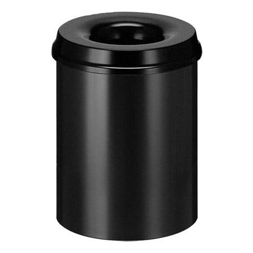 Selbstlöschender Papierkorb aus Stahlblech schwarz