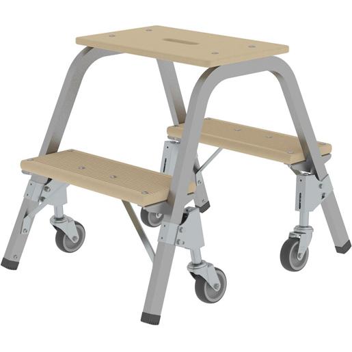 Günzburger Stahl-Holz-Tritt mit Brems-Lenkrollen